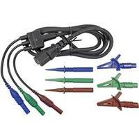 Sada měřicích kabelů zástrčka 4 mm ⇔ IEC zásuvka Cliff CIH29923, 1,5 m, modrá/zelená/hnědá