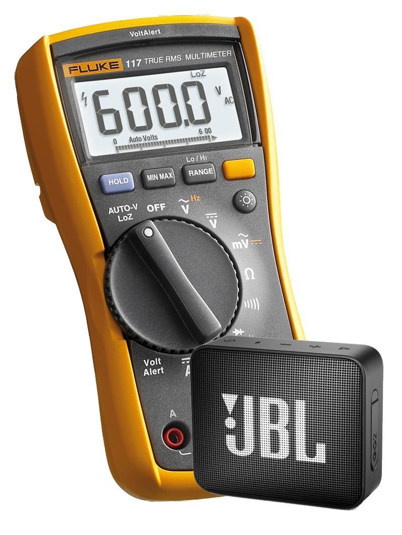 Fluke 117 - digitální multimetr a reproduktor JBL GO2 - 1